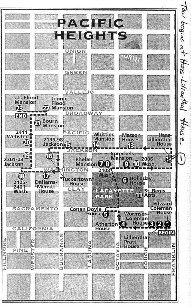 Pacific Heights Walking Tour Map