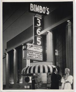 Bimbo's facade with people