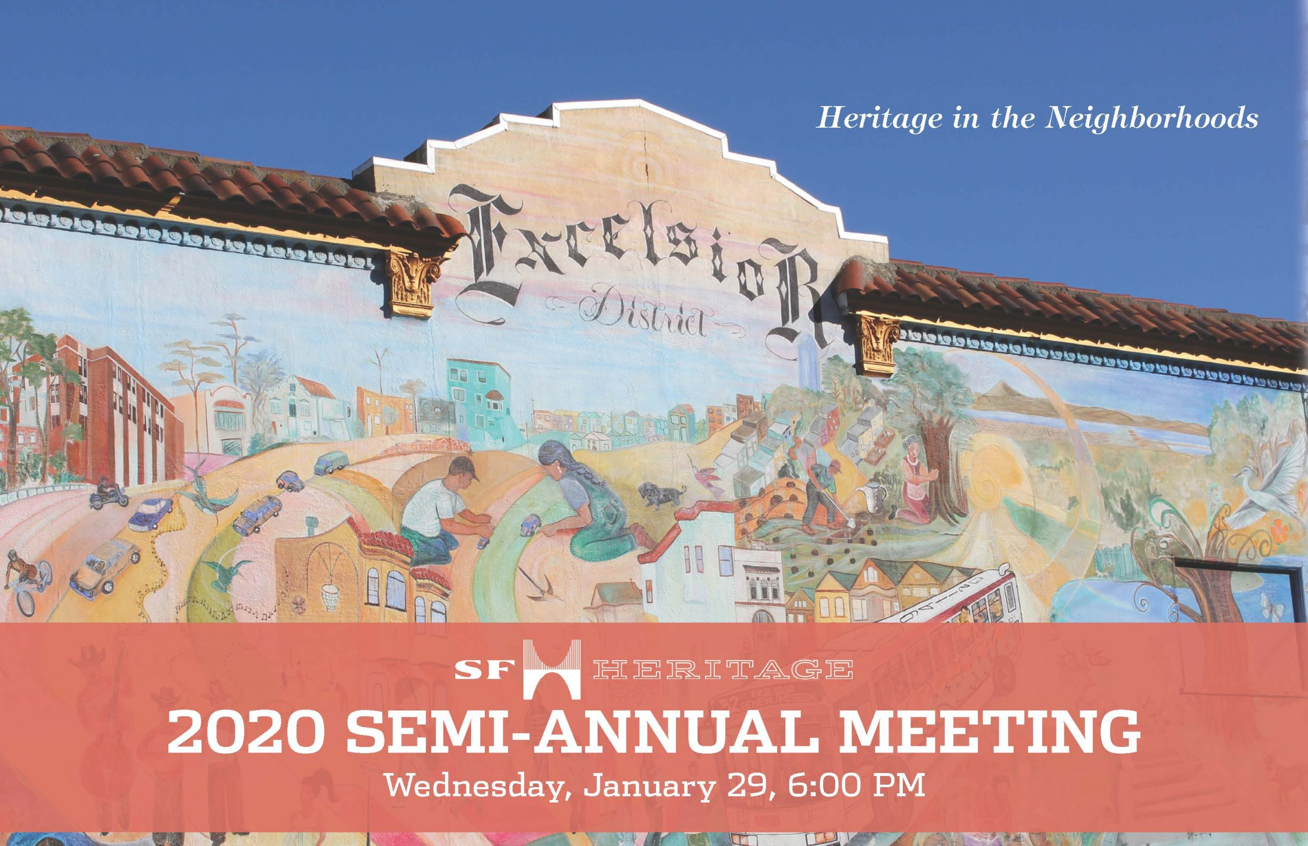 Semi-annual meeting cover art_ featuring a mural of the Excelsior District